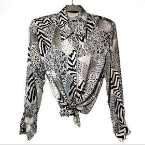 81f6344e80bce9 Vintage Tops - ⭐ Vintage Silk Button Up Top Cheetah   Zebra